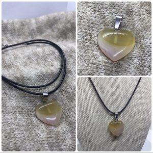 Beautiful Agate Heart Pendant NWOT